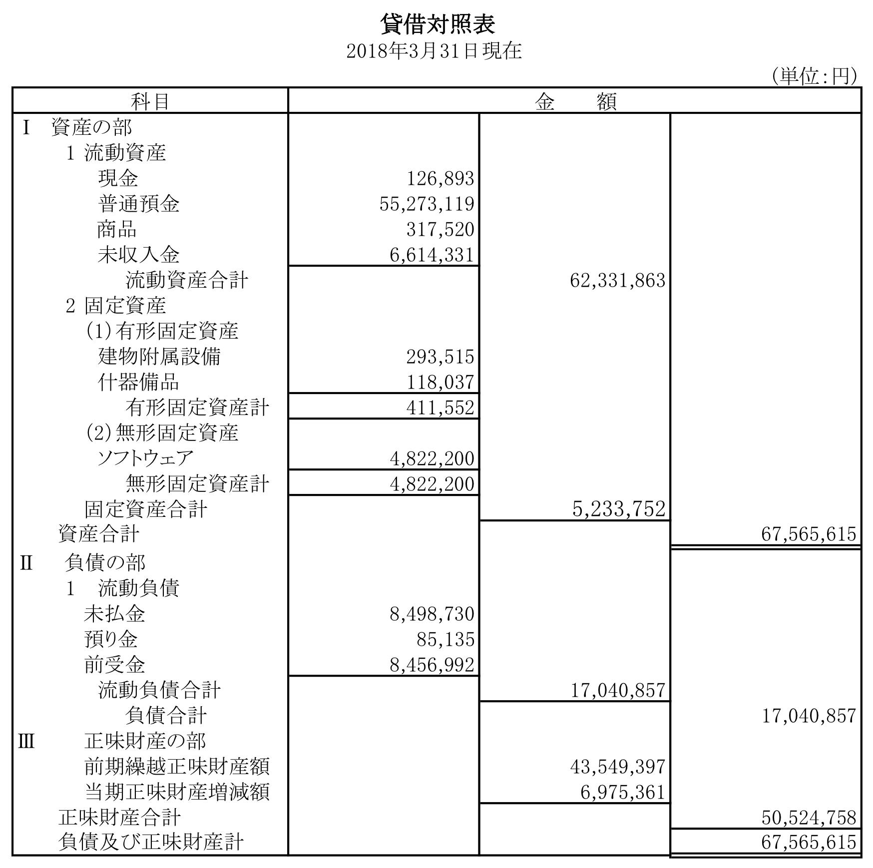 2017年貸借対照表